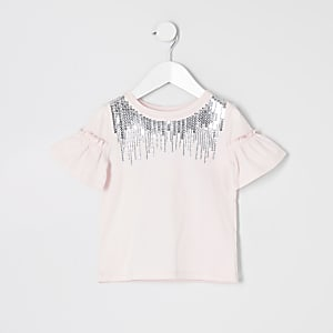 T-shirt rose avec col à sequins Mini fille