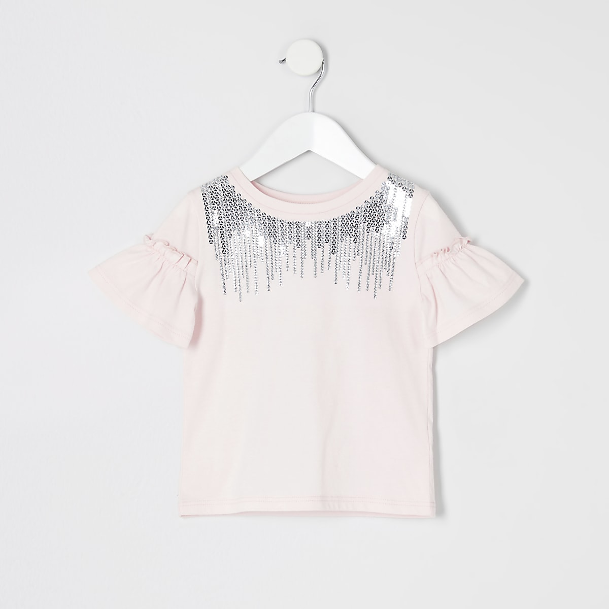 Mini girls pink sequin neck T-shirt