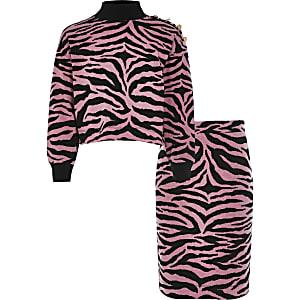 Pinkes Pullover-Outfit mit Zebra-Print für Mädchen