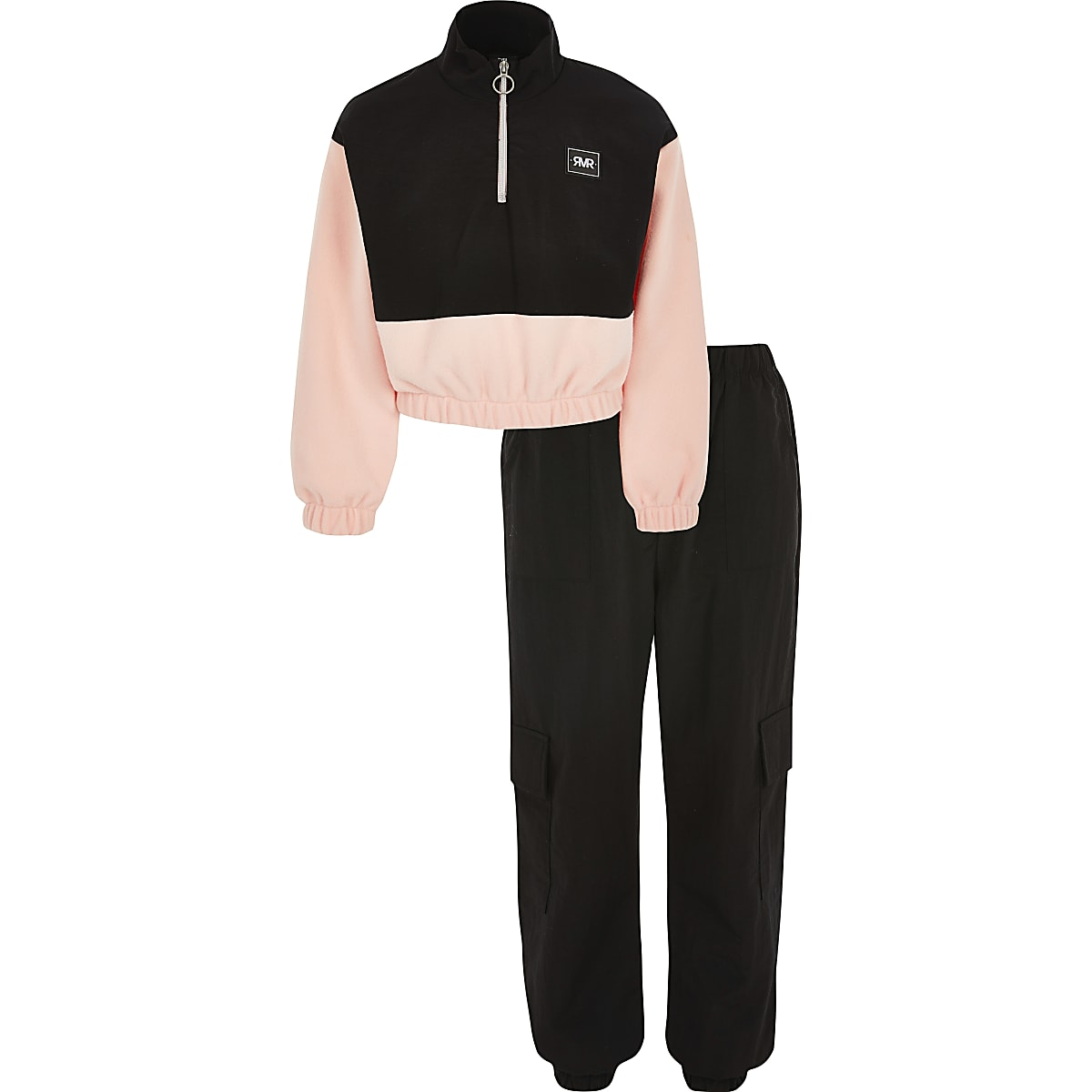 Girls pink funnel neck sweatshirt outfit