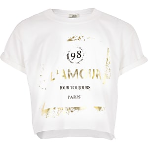 Wit cropped T-shirt met print voor meisjes