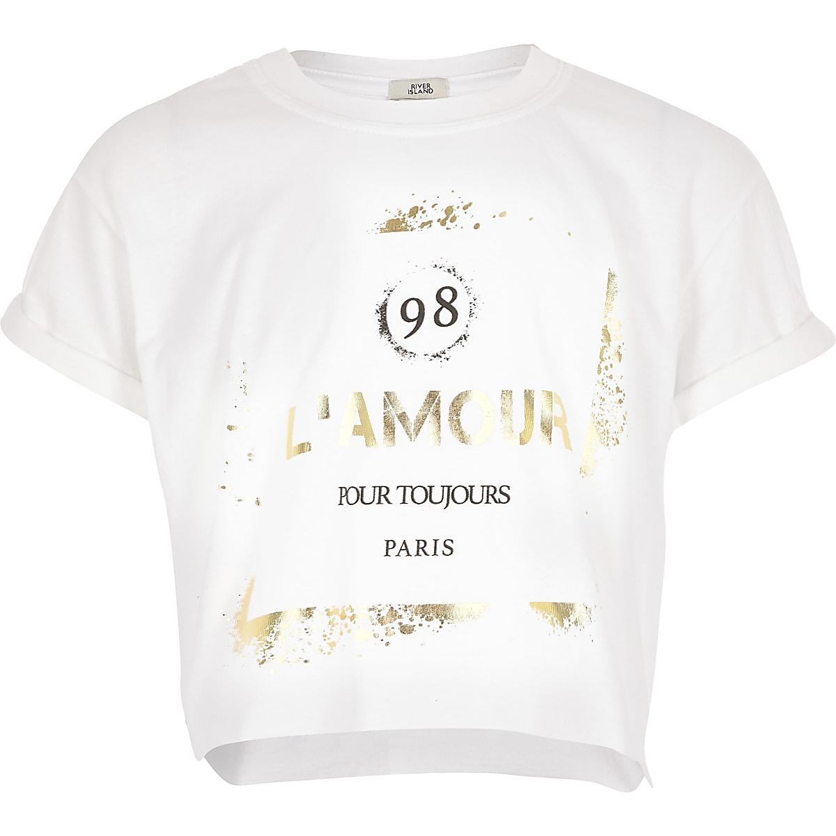 Girls white printed crop T-shirt