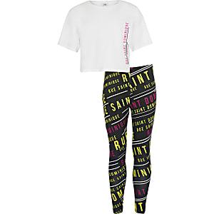 Set met wit T-shirt met rue dom-print en legging voor meisjes