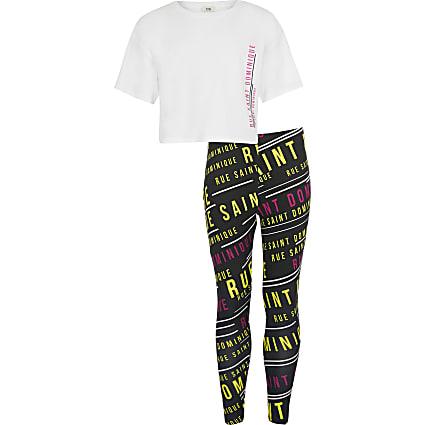 Girls white rue dom t-shirt + leggings set