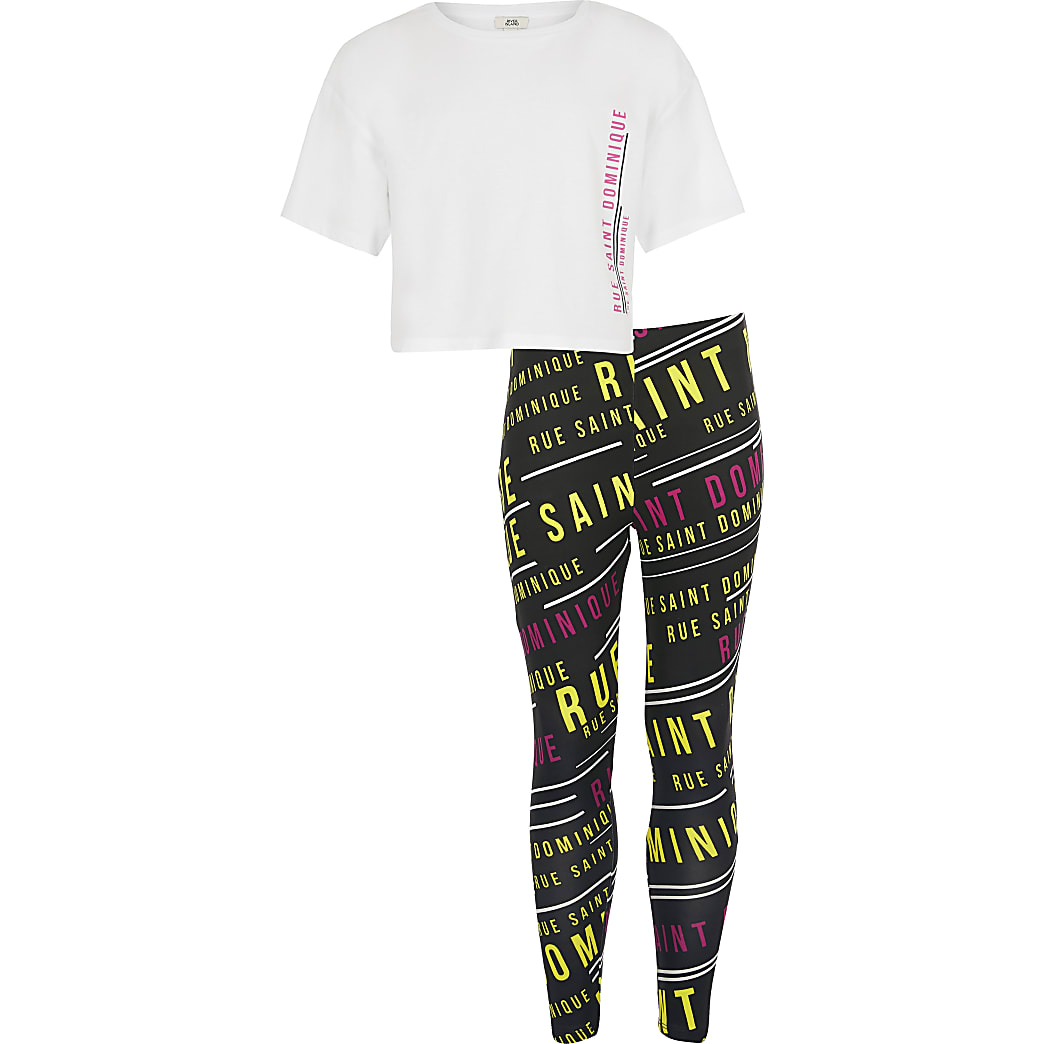 Girls white rue dom t-shirt + leggings set