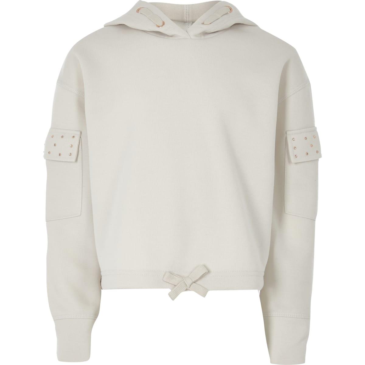 Kiezelkleurige utility hoodie met siersteentjes voor meisjes