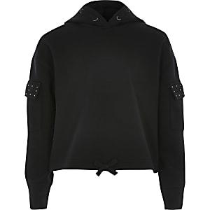 Zwarte utility hoodie met siersteentjes voor meisjes