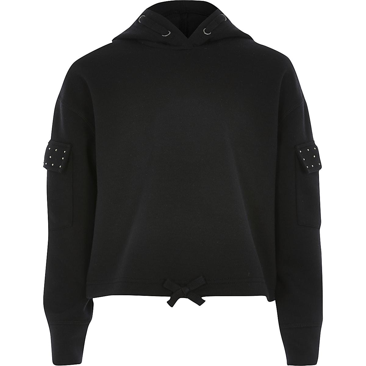 Girls black diamante utility hoodie