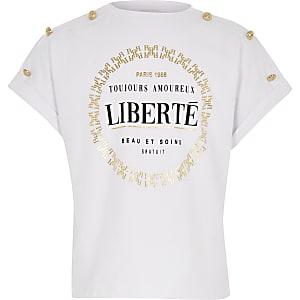 """Weißes T-Shirt mit """"Liberté""""-Print"""