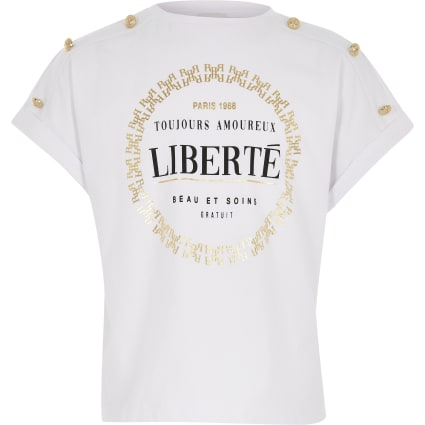 Girls white 'Liberte' printed t-shirt