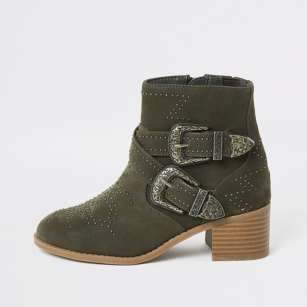 Girls khaki studded western buckle boots