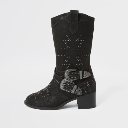 Girls black studded western boots