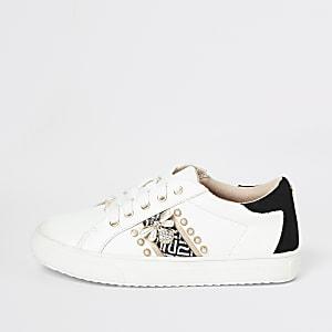 Witte gestreepte verfraaide sneakers voor meisjes