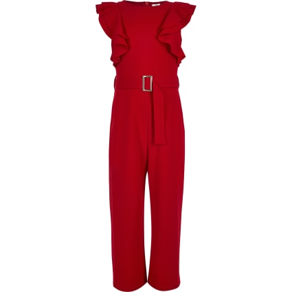 Girls red belted frill jumpsuit
