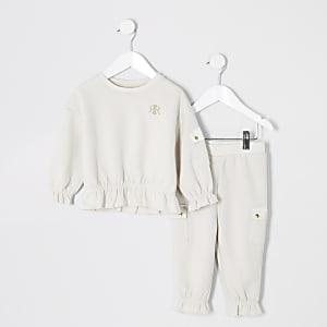 Mini– Beiges Sweatshirt-Outfit im Utility-Look für Mädchen