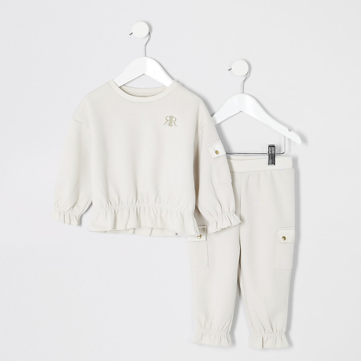 Mini girls beige utility sweatshirt outfit