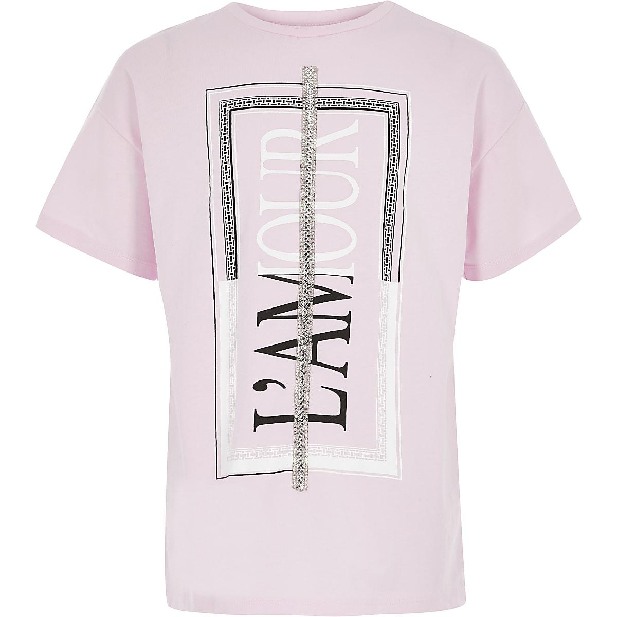 Girls pink printed embellished T-shirt