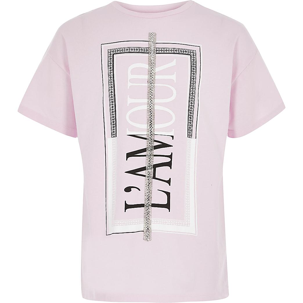 Roze versierd T-shirt met print voor meisjes