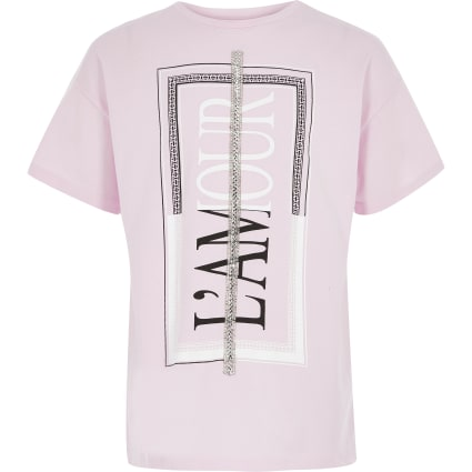 Girls pink printed embellished T-shirt