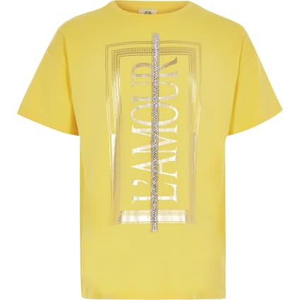 Girls yellow 'L'amour' diamante trim t-shirt