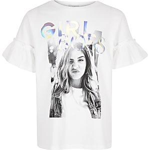T-shirt «Girl boss» blanc pour fille