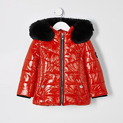 Mini girls red high shine padded coat
