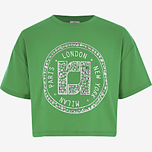 Girls green RI embellished cropped T-shirt