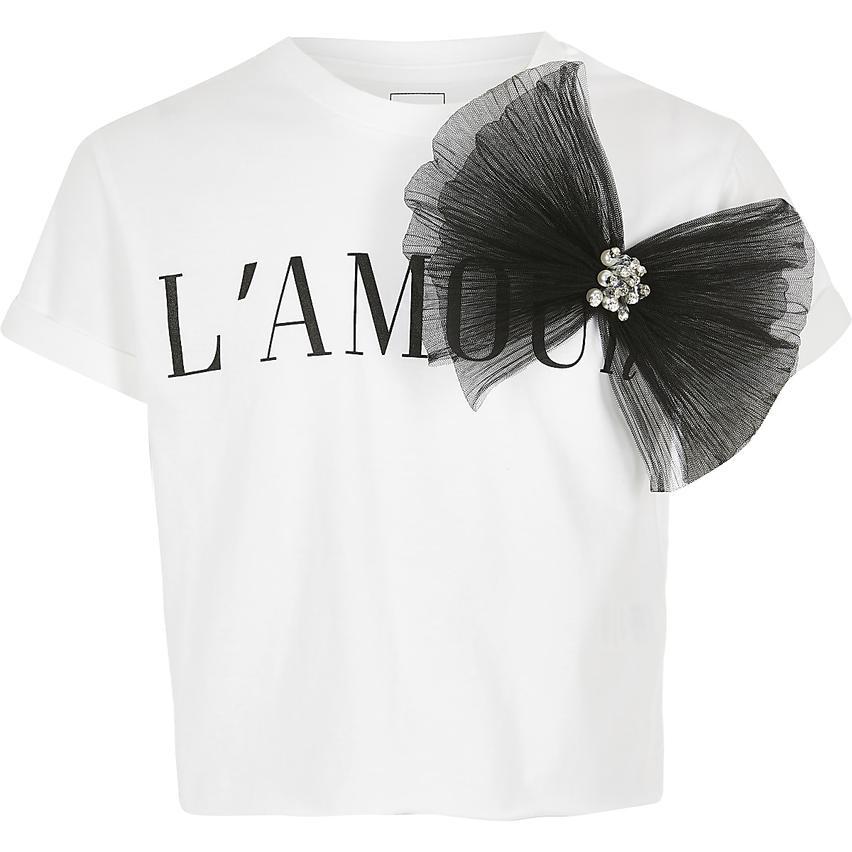 Girls oversized 'L'Amour' bow t-shirt