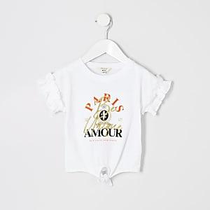 Mini - T-shirt met 'Paris amour'-print en ruche mouwen voor meisjes