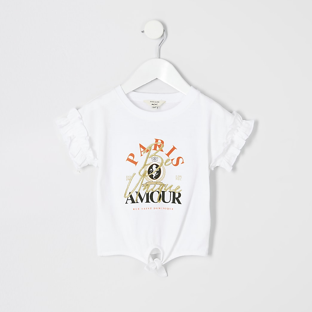 Mini girls 'Paris amour' frill sleeve T-shirt