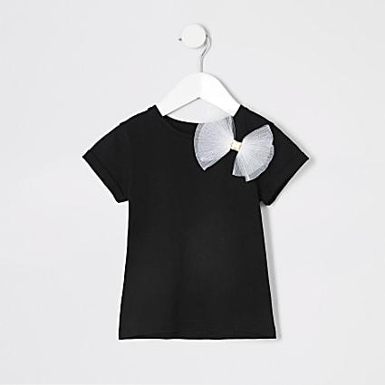 Mini girls black mesh bow T-shirt