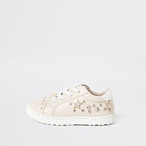 Tennis roses ornés de strass Mini fille