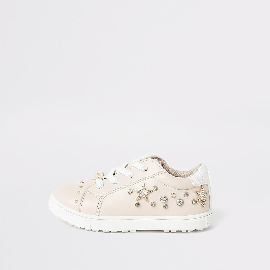 Mini girls pink diamante embellished plimsoll