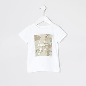 T-shirt « Feel good » blanc camouflage Mini fille