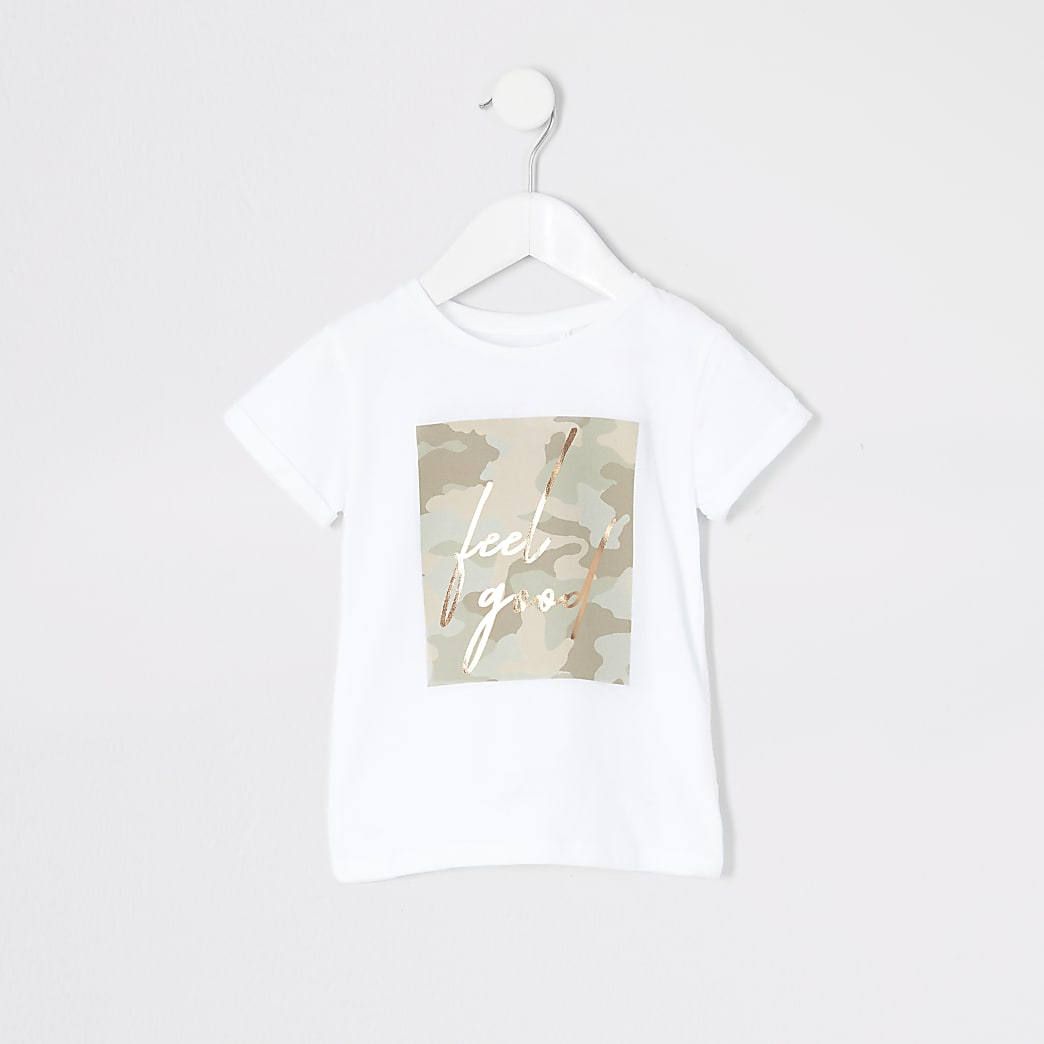 Mini girls white camo 'Feel good' T-shirt