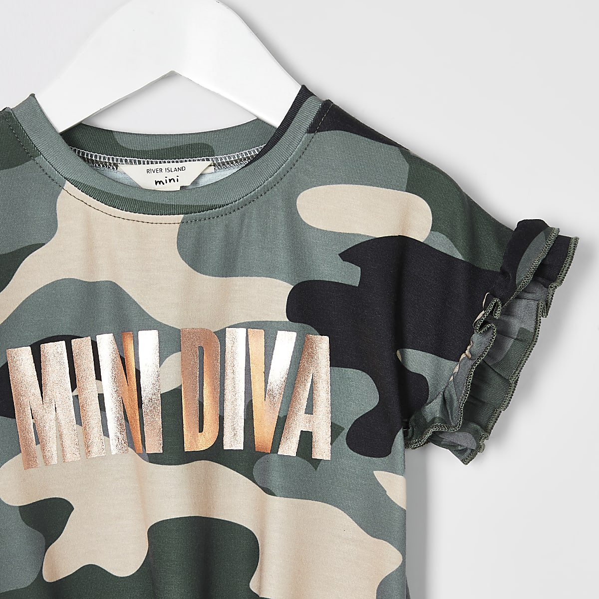 73206dc4d82 Mini girls green camo 'Mini Diva' T-shirt