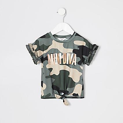 Mini girls green camo 'Mini Diva' T-shirt
