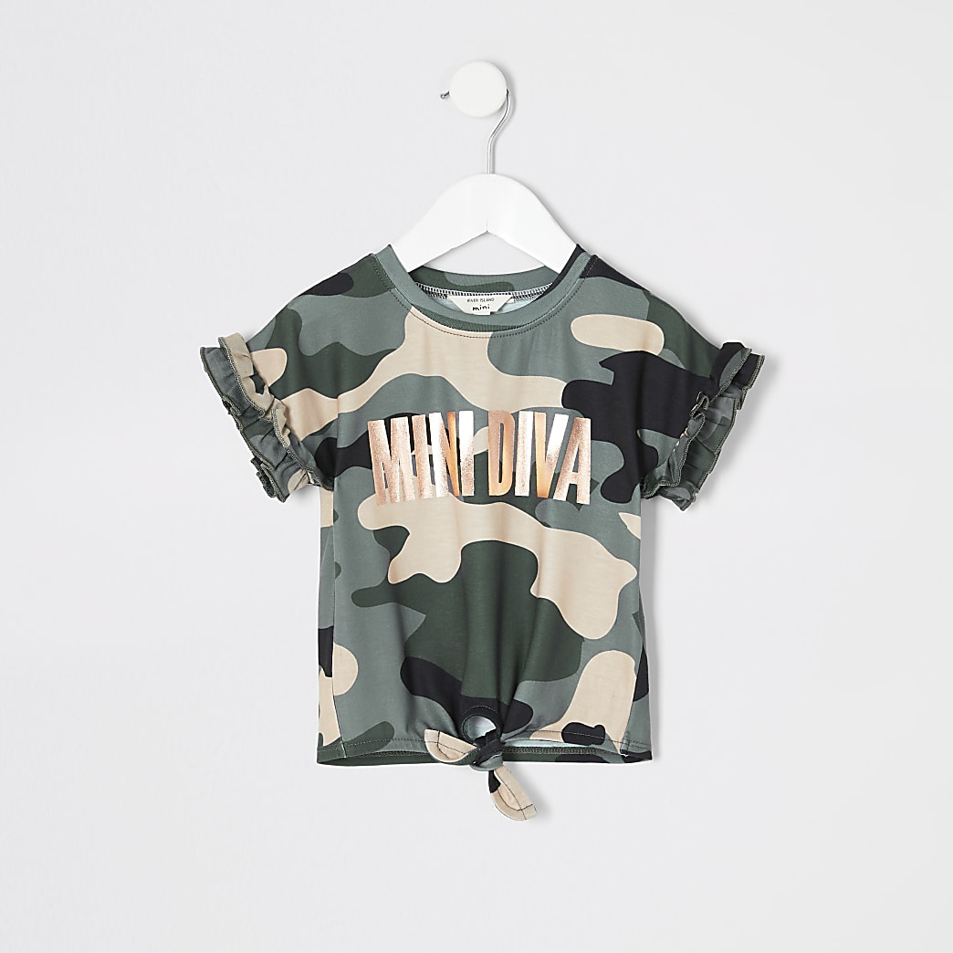 Mini - 'Mini Diva' T-shirt in groen met camouflageprint voor meisjes