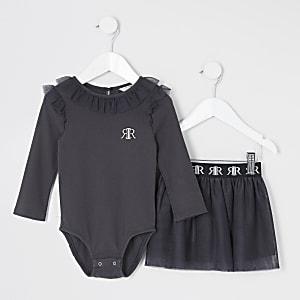 Mini - Grijze bodysuit tutu outfit met ruches voor meisjes
