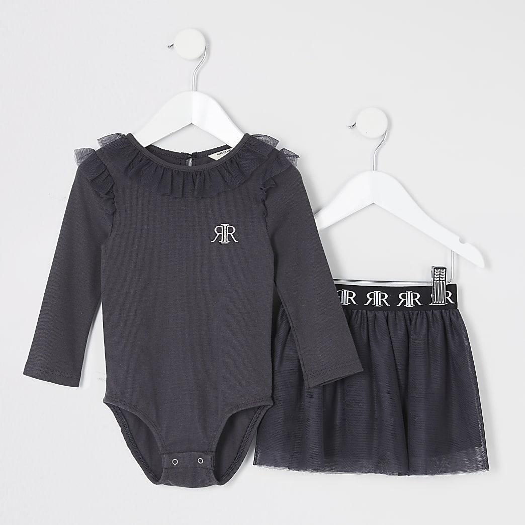 Mini girls grey frill bodysuit tutu outfit