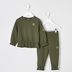 Ensemble sweat utilitaire kaki à volants Mini fille