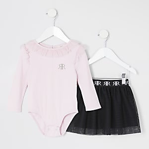 Mini girls pink frill bodysuit tutu outfit