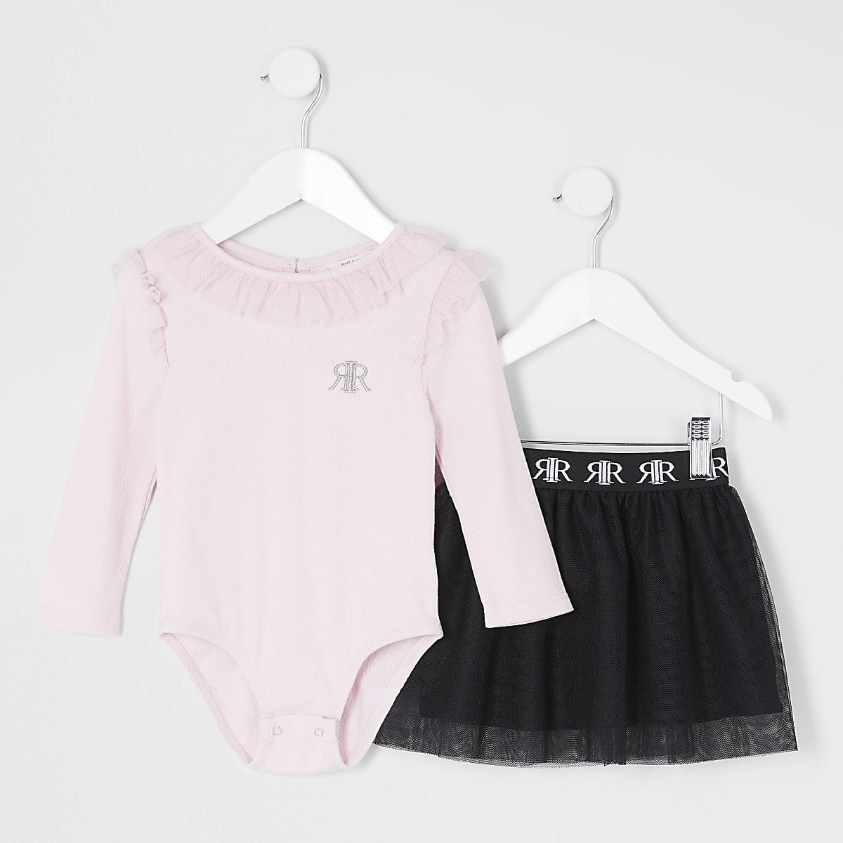 Mini - Roze bodysuit tutu outfit met ruches voor meisjes