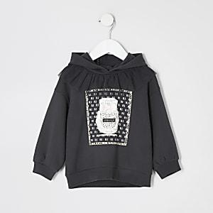 Grauer Hoodie mit Rüschen und Print für kleine Mädchen