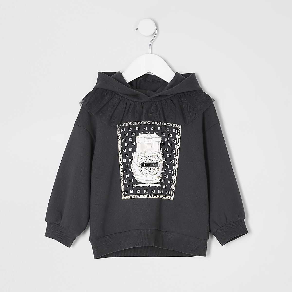 Mini - Grijze hoodie met ruches en print voor meisjes