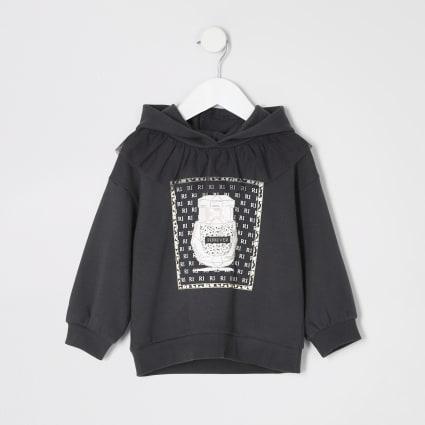 Mini girls grey printed frill hoodie