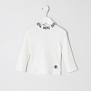 Mini - Witte geribbelde top met 'mini diva'-tekst voor meisjes