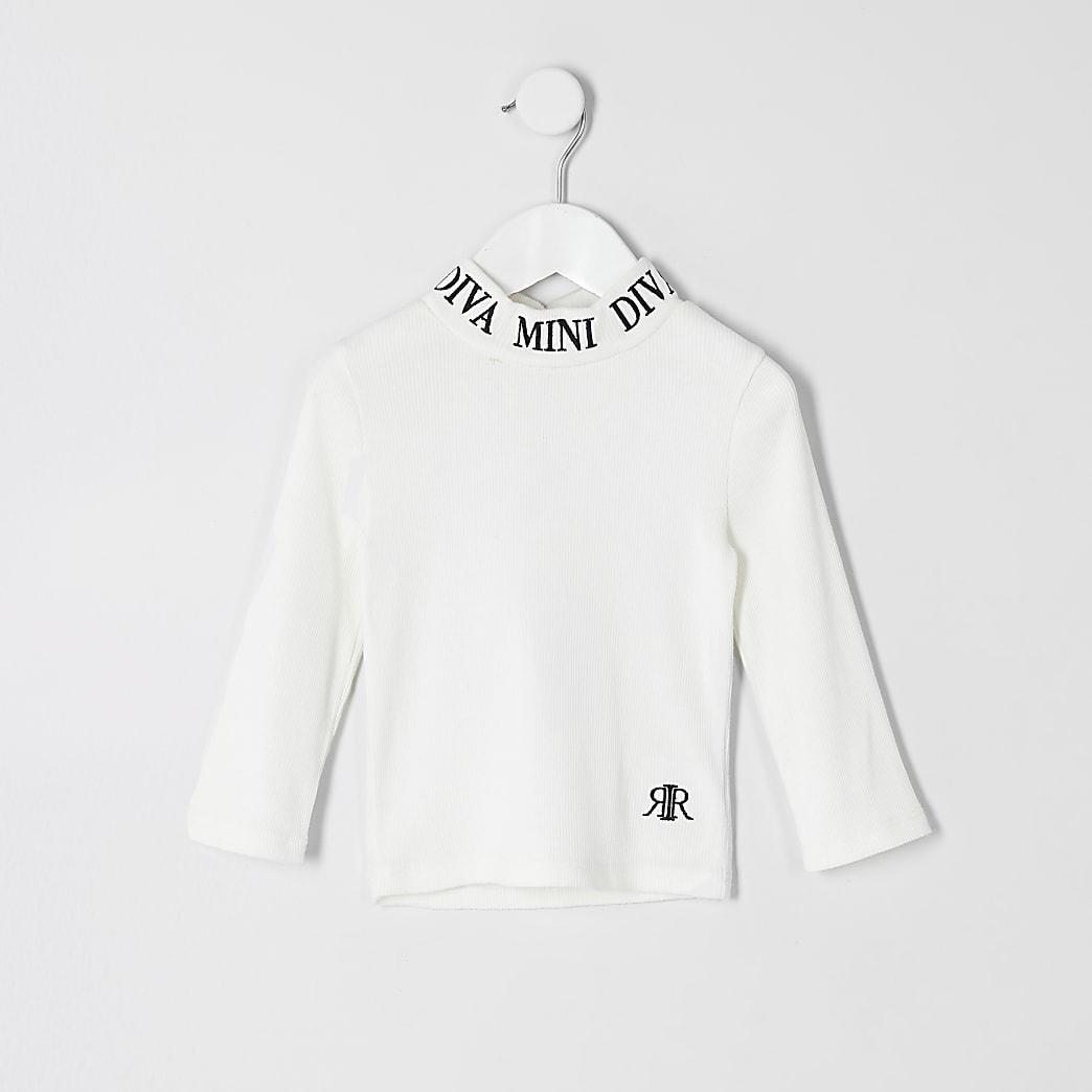 Mini girls white ribbed mini diva top