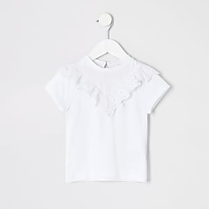 T-shirt blanc avec broderie anglaise mini fille
