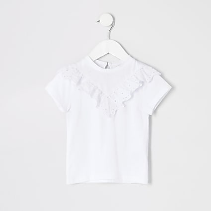 Mini girls white broderie T-shirt